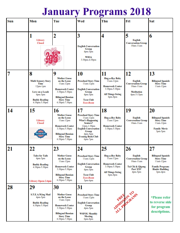 january 2018 library calendar of events