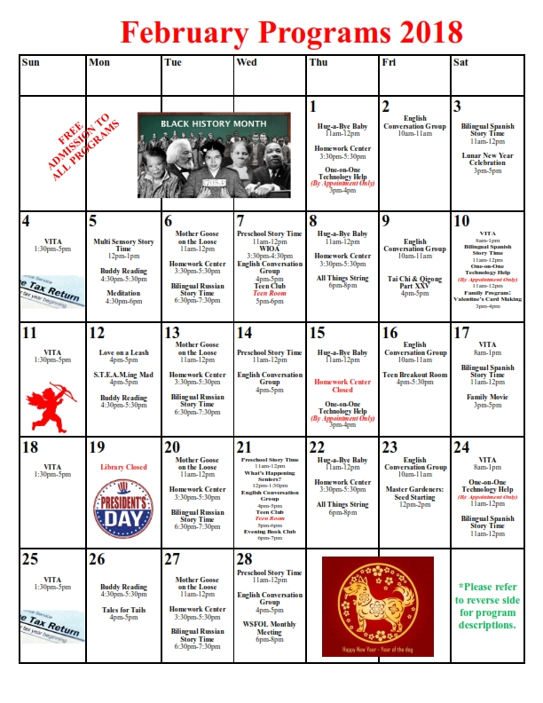 2018 February Calendar of Events for Arthur F. Turner Library