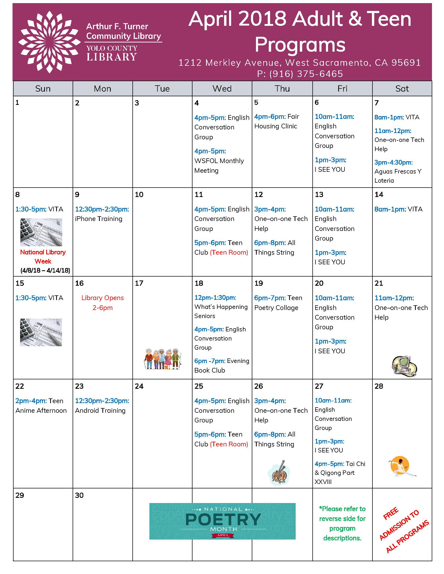 Events for Adults at West Sac Library for Month of April