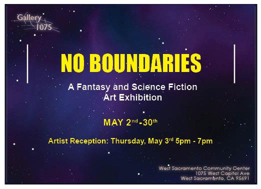 2018 flyer of No Boundaries art exhibit in Gallery 1075