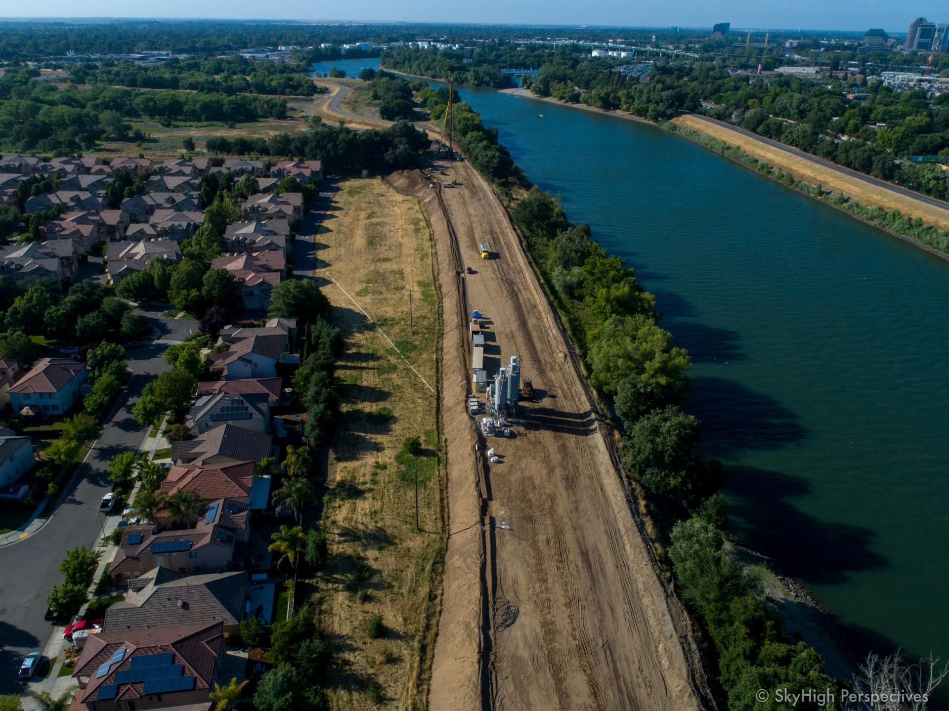 southport levee improvement project drone photo may 22 behind homes