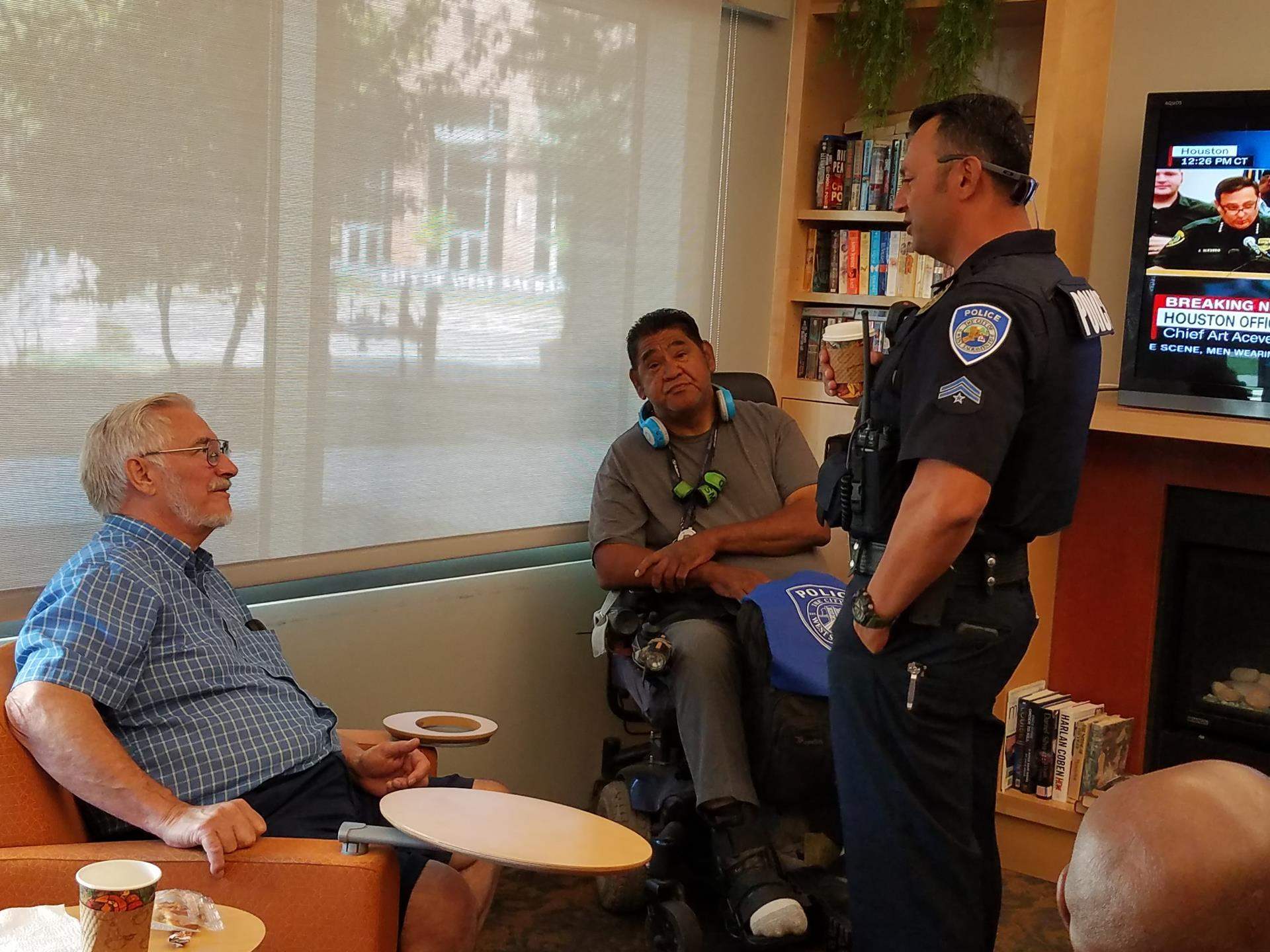 Coffee with a cop 2017 at senior lounge in community center