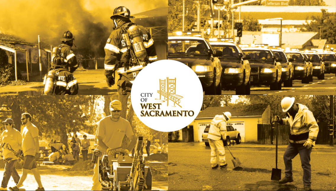 Photo of West Sacramento public works, fire, police, and parks crews working
