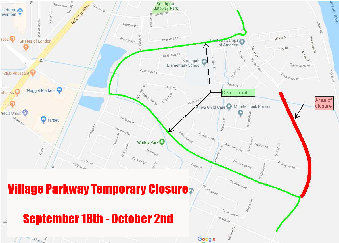 Village Pkwy closure map sept 18-Oct 2 2018