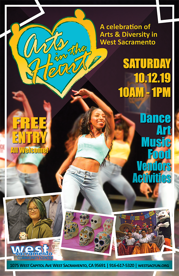 2019_Arts in the Heart Poster with a group of young women dancing.
