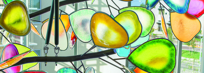 Community Center Interior Glass Art Canopy