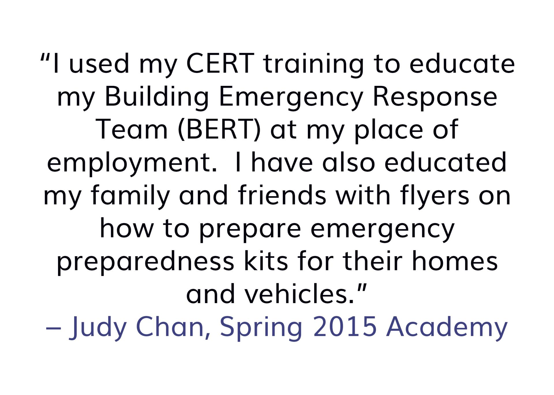 Judy Chan quote about CERT