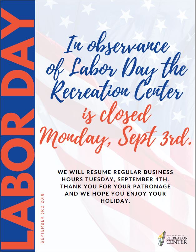 Recreation Center CLOSED for Labor Day | Calendar Meeting List