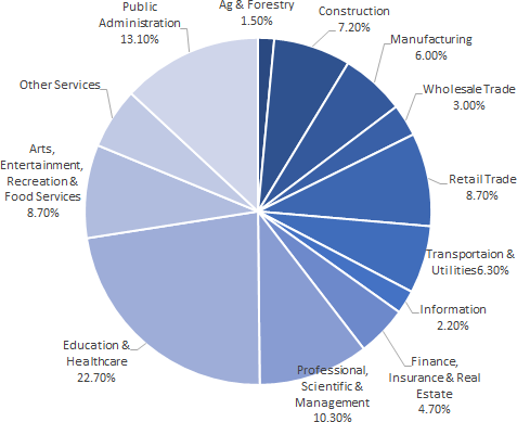 Employment by industry pie chart