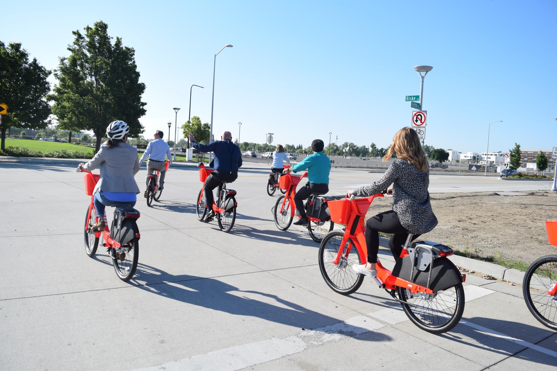 picture of a group of jump bike riders near the bridge district in west sac
