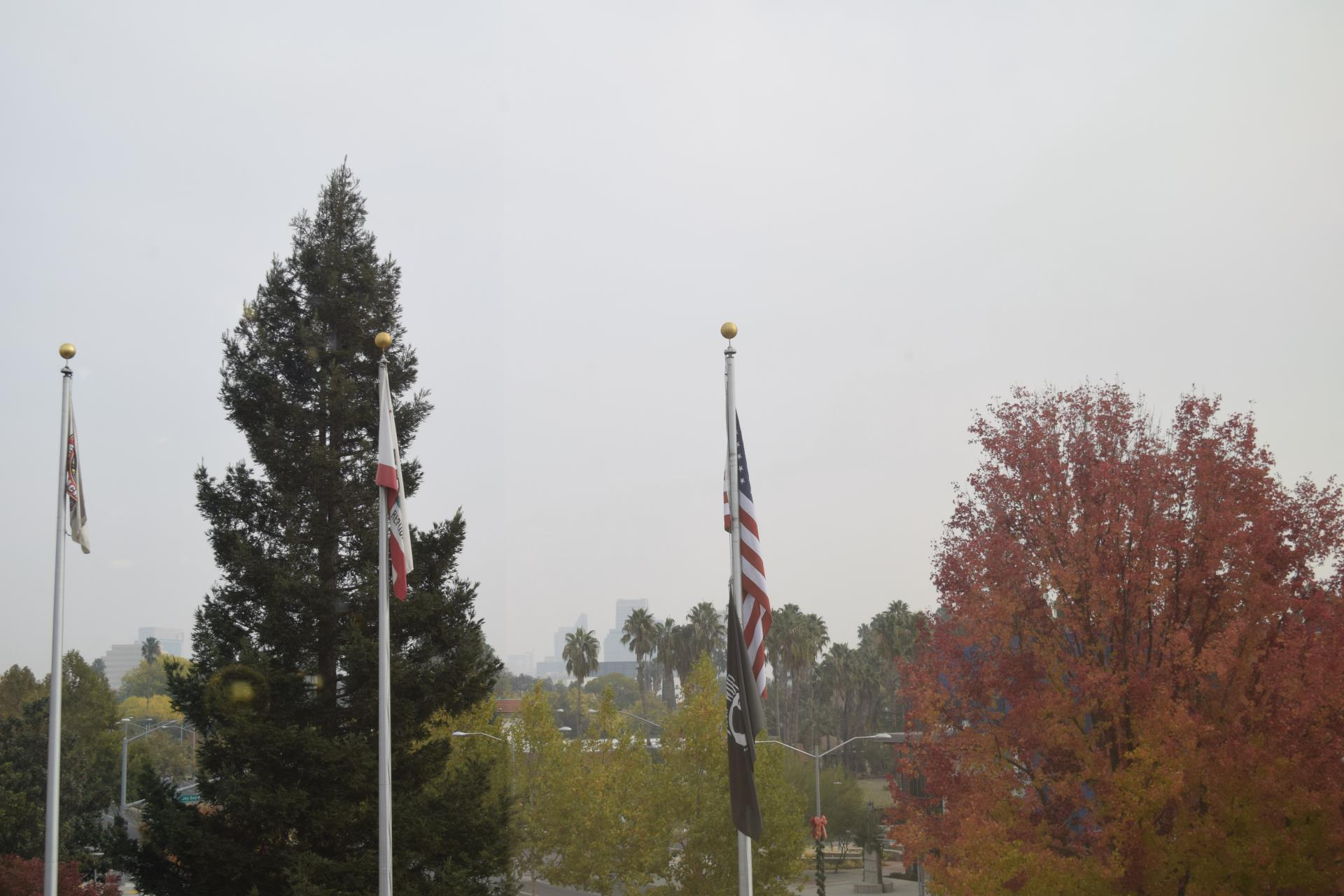 smoky sky view from city hall during fall 2018 ca fires