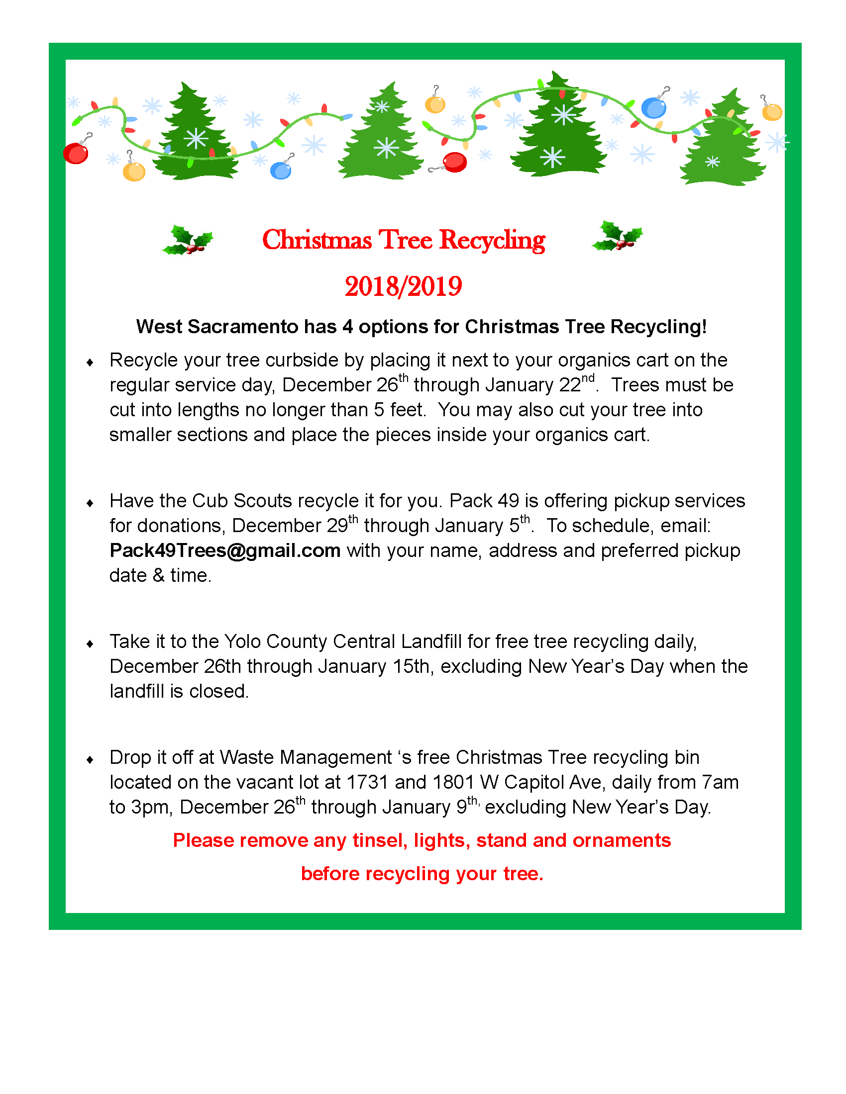 2018 Christmas Tree Recycling