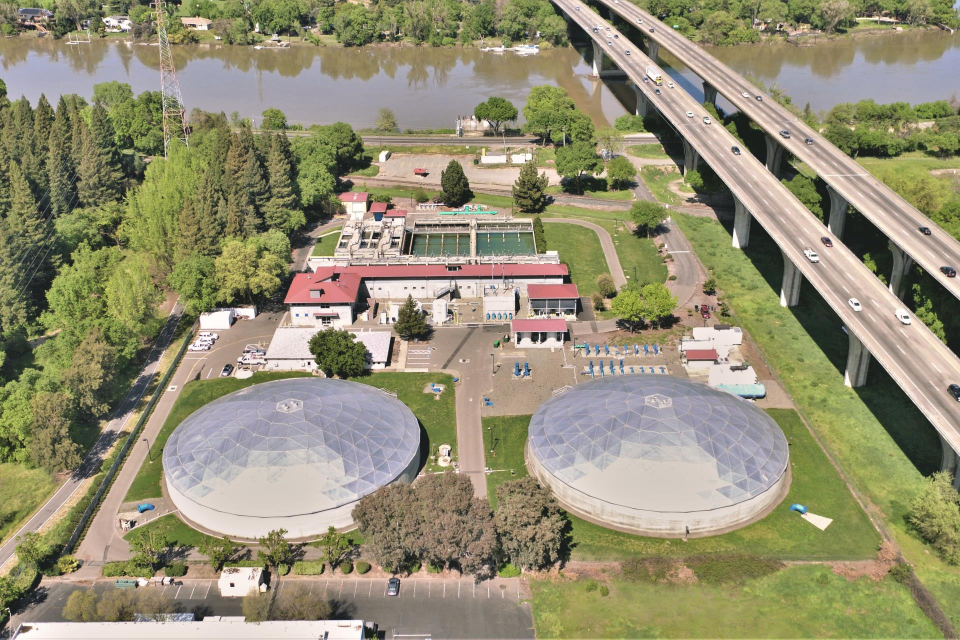 Water Treatment Plant Drone Shot