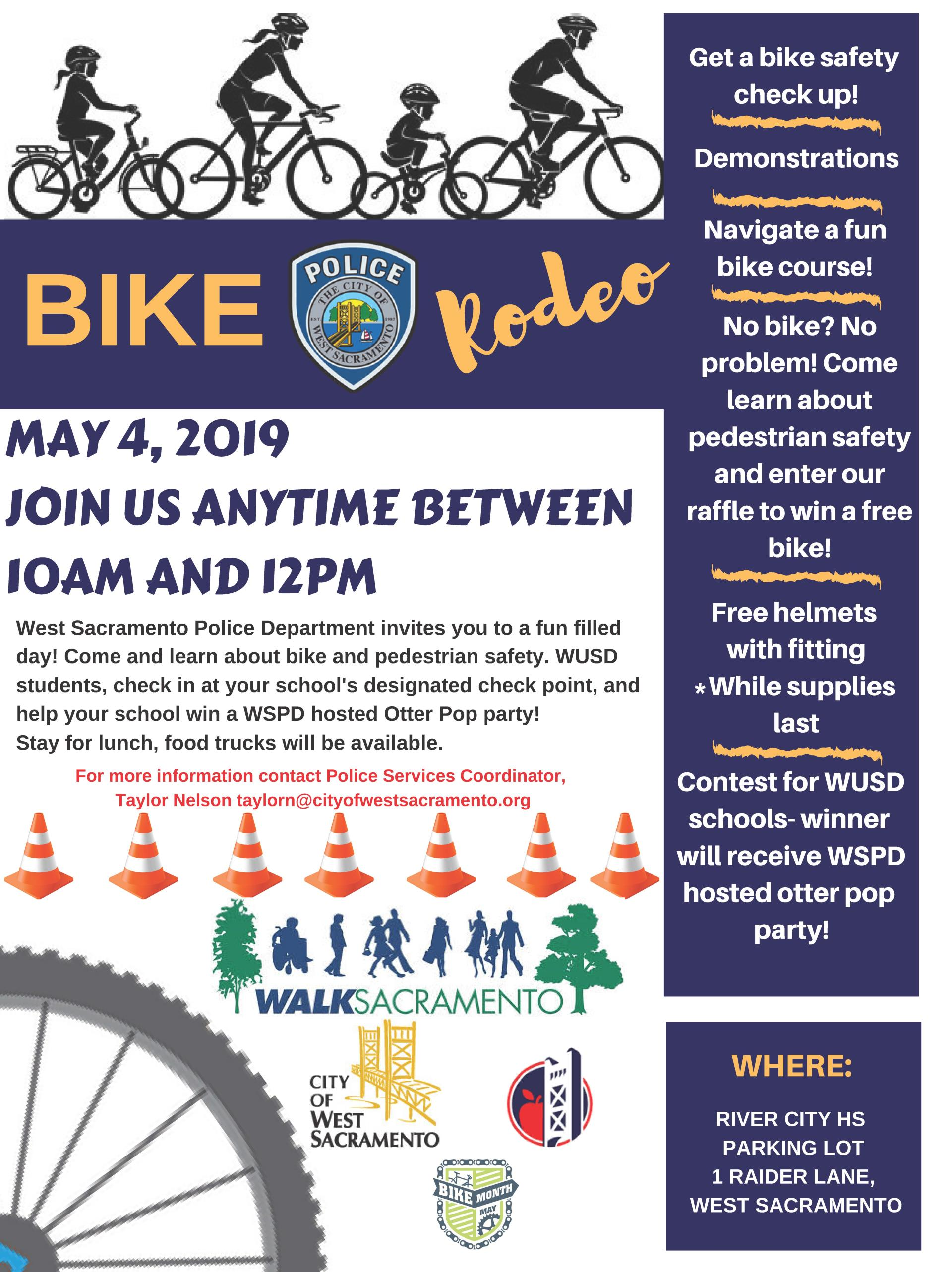 Bike Rodeo Flyer for may 4th event at river city high school