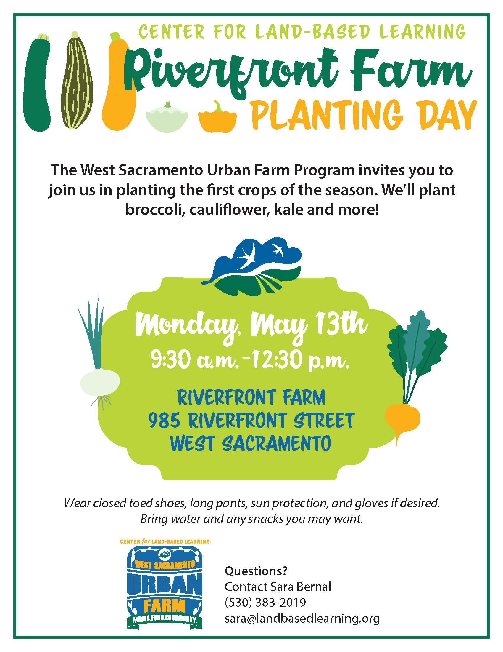 Riverfront farm planting day is may 13th at 9:30