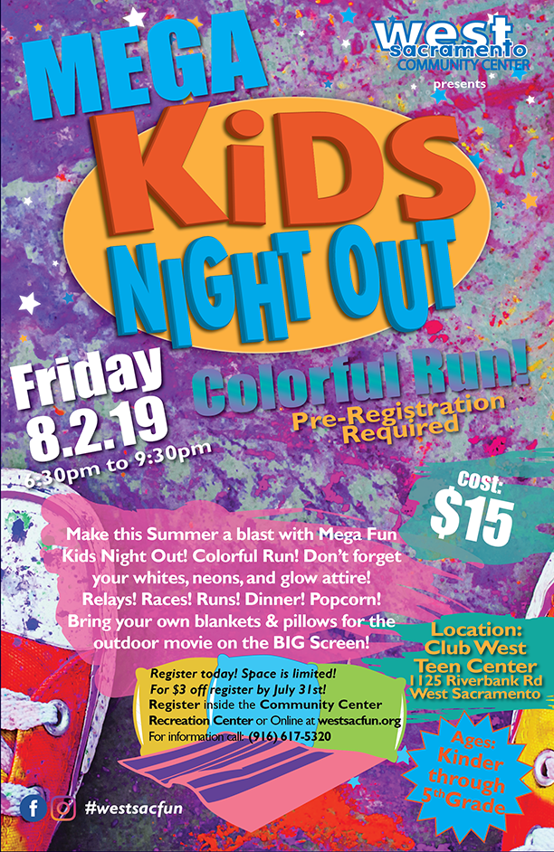 Mega Kids Night Out Colorful Run poster with details