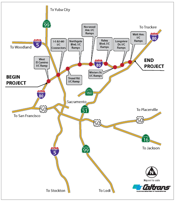 Map of I-80 Off Ramp Paving for Caltrans Project in West Sacramento