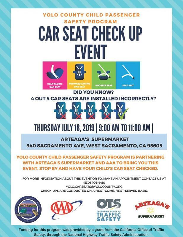 flyer for car seat inspection event on july 18, 2019
