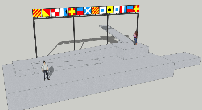West Sacramento Dock-rendering-flags and people