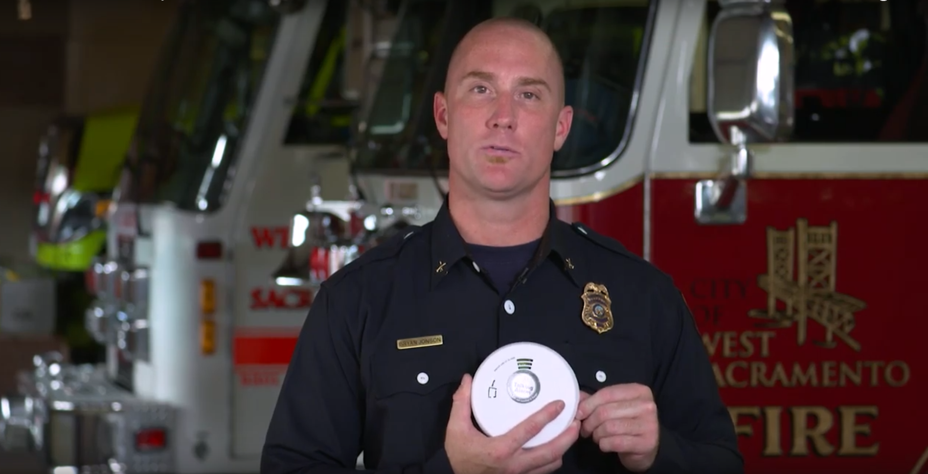 fire safety video screenshot of fire marshal Bryan johnson