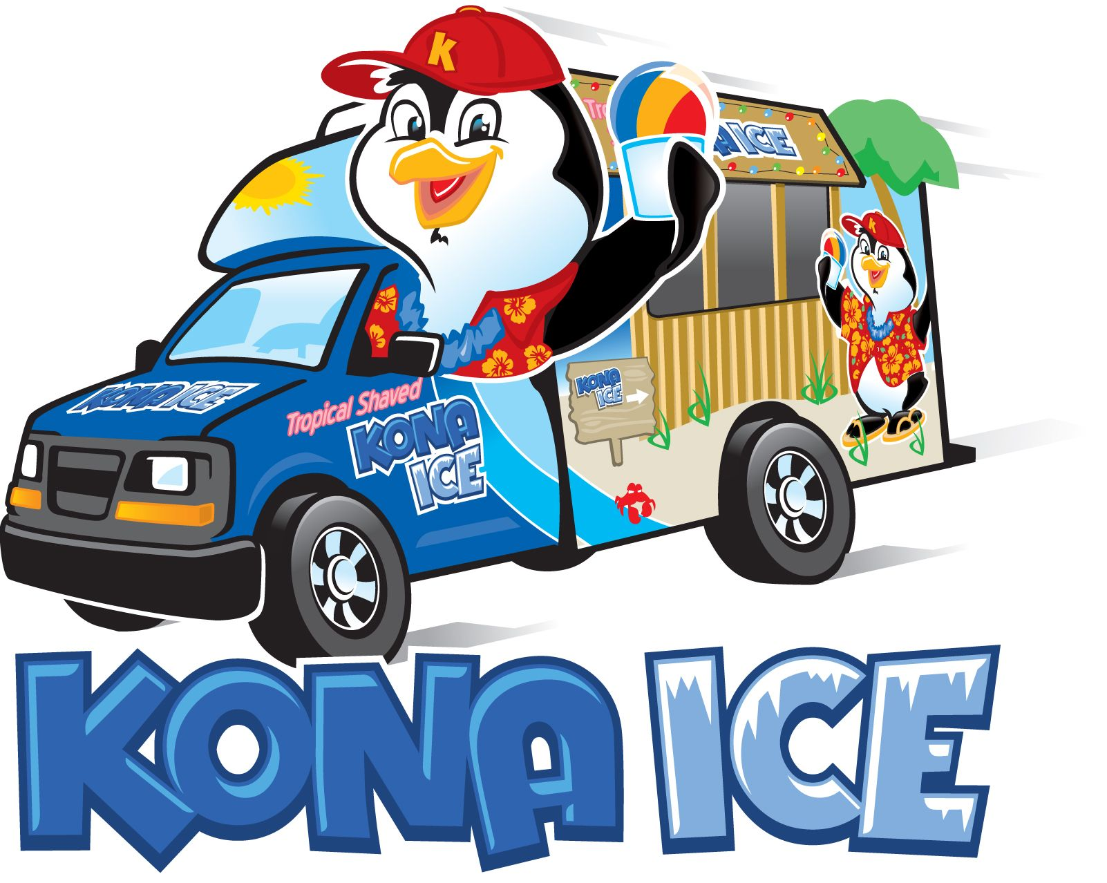 Photo of Kona Ice truck and penguin