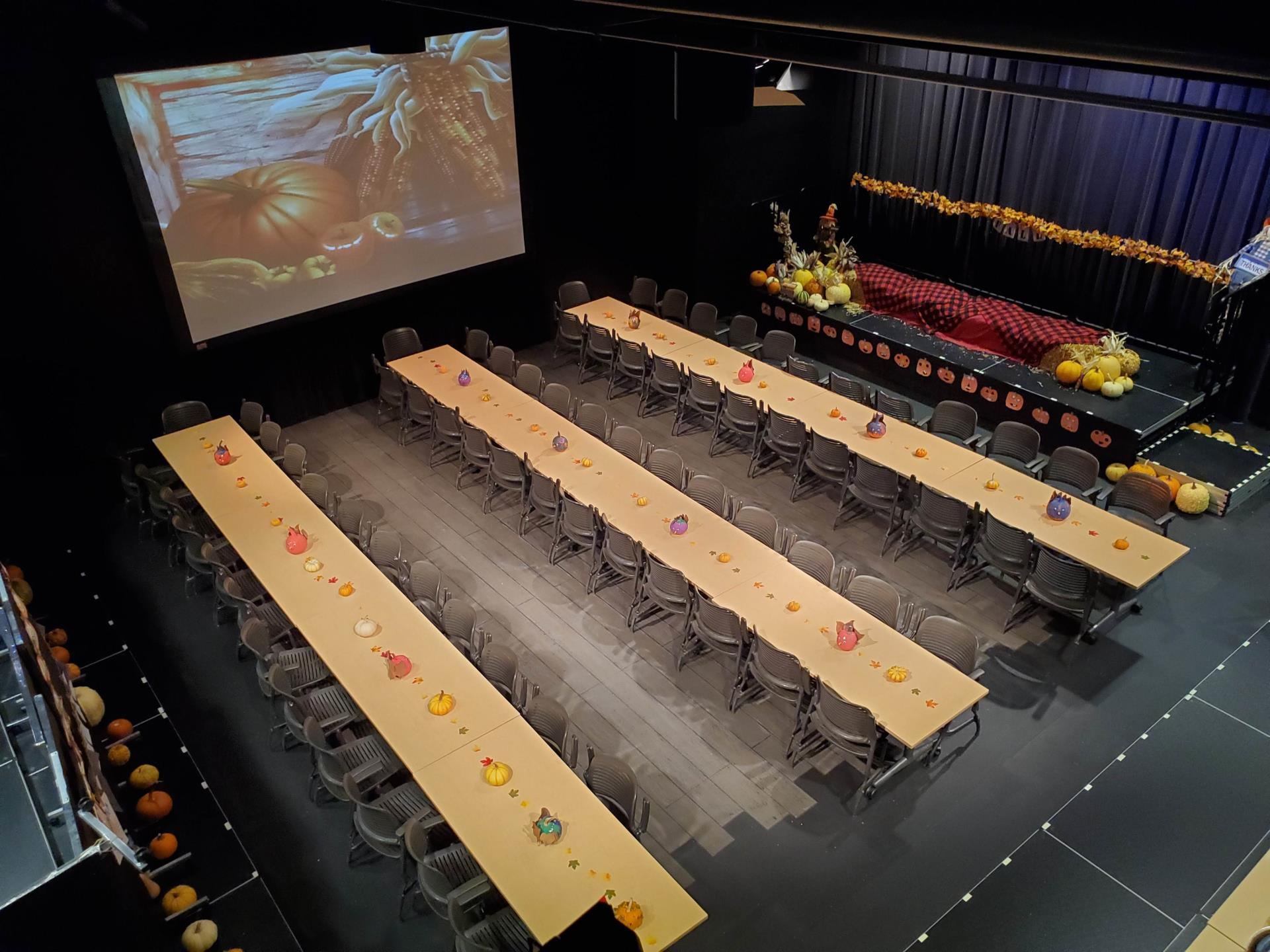 Harvest Festival Banquet setup in the theater