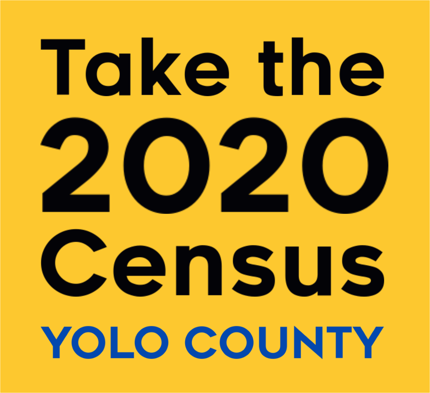 Words in black font: Take the 2020 Census Yolo County