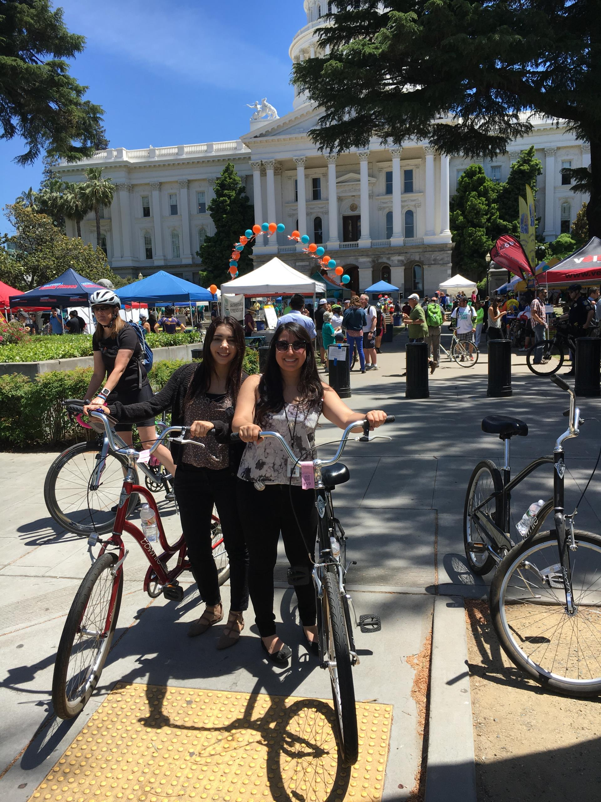 city staff ride bikes to the state capital to celebrate May is Bike Month