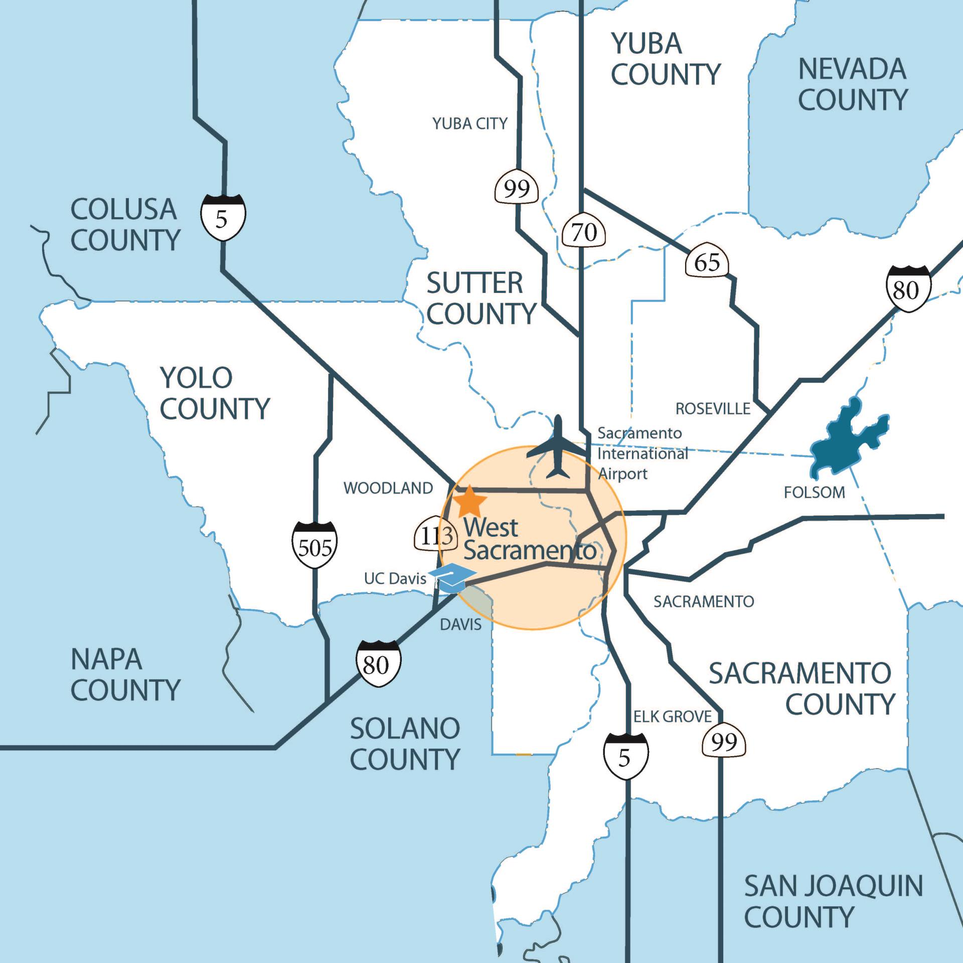 Map of West Sacramento and surrounding area