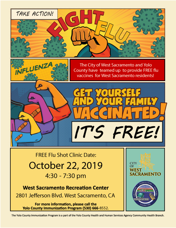 West Sacramento Flu Clinic Poster with superheroes fighting the flu virus